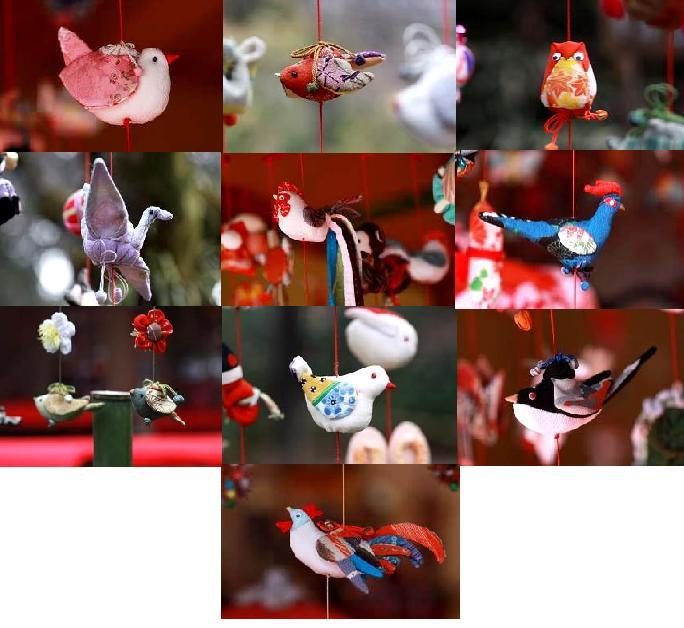 大人気のつるし雛  数えきれないほどの作品は、鳥だけピックアップしてもご覧のとおり (これでも作品の中の鳥の一部です)
